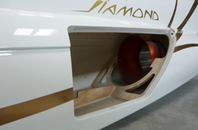 Diamond access hatch with tailpipe fitted - RC Jets models - Aviation Design