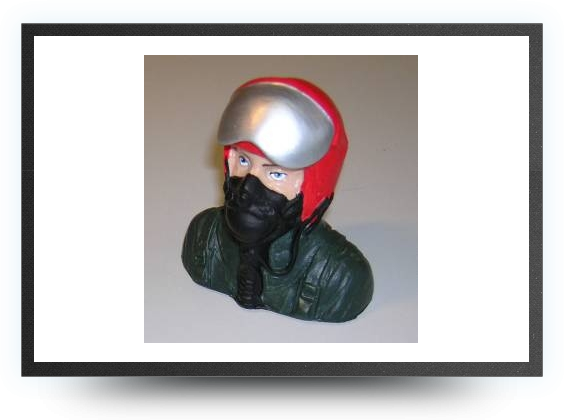 Jets - 1/6 jet pilot bust painted 78 mm x 70 mm - 1/6 jet pilot bust painted 78 mm x 70 mm - Aviation Design