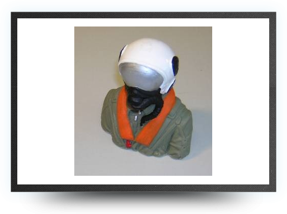 Jets - 1/8 jet pilot bust painted 75 mm x 65 mm - 1/8 jet pilot bust painted 75 mm x 65 mm - Aviation Design