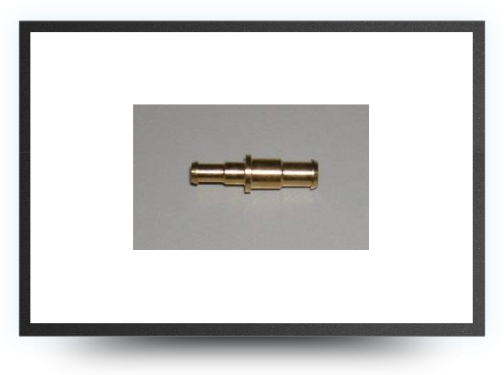Jets - Brass restrictor connector for tubing 8 mm x 6 mm to 6 mm x 4 mm - Brass restrictor connector for tubing 8 mm x 6 mm to 6 mm x 4 mm - Aviation Design