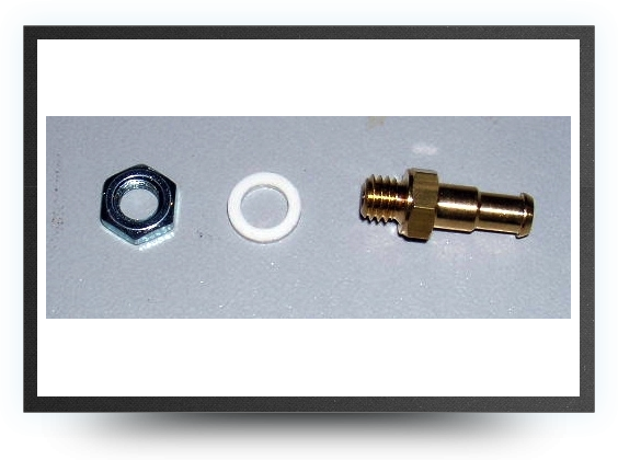 Jets - Straight nepple fitting connector with M 5 threated for 6 mm x 4 mm tubing or Tygon tubing + M5 nut (perfect for air vent)Raccord droit filetage M - Straight nepple fitting connector with M 5 threated for 6 mm x 4 mm tubing or Tygon tubing + M5 nut (perfect for air vent)Raccord droit filetage M - Aviation Design