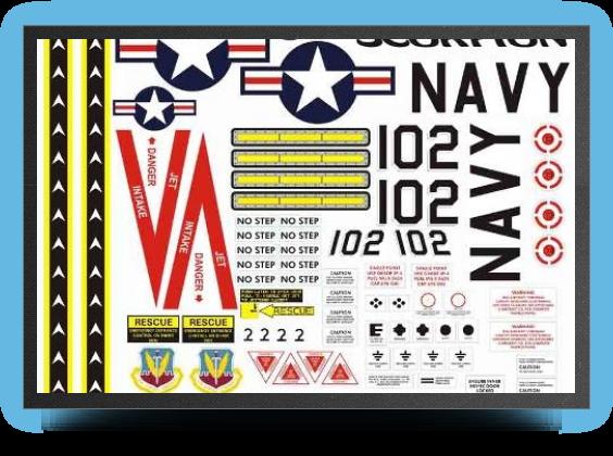 Jets - planche autocollants navy - planche autocollants navy - Aviation Design