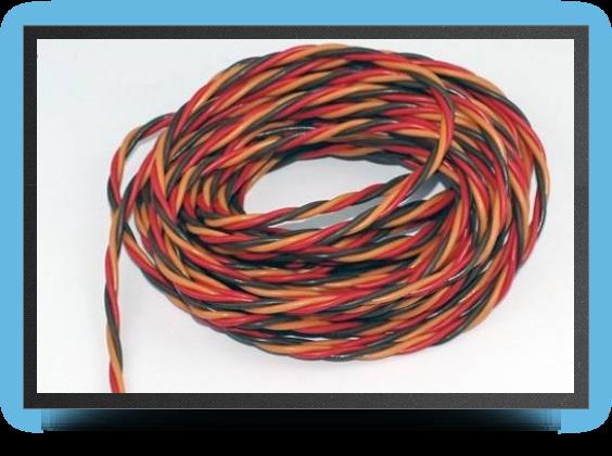 Jets - Câble électrique 3 brins JR torsadé 0.50 mm² au mètre - Câble électrique 3 brins JR torsadé 0.50 mm² au mètre - Aviation Design